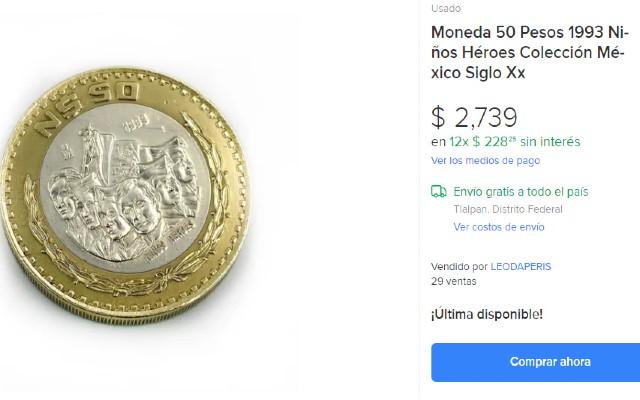 Este es el reverso de la pieza que se vende en casi 3 mil pesos