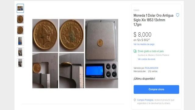 Moneda de un dólar de oro