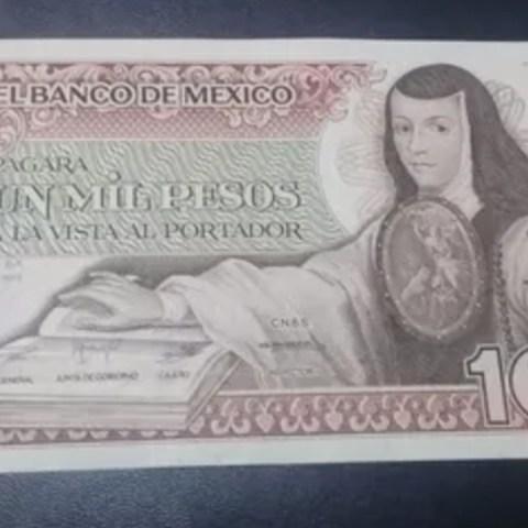 Billete de mil pesos de Sor Juana se vende en 20 mil pesos