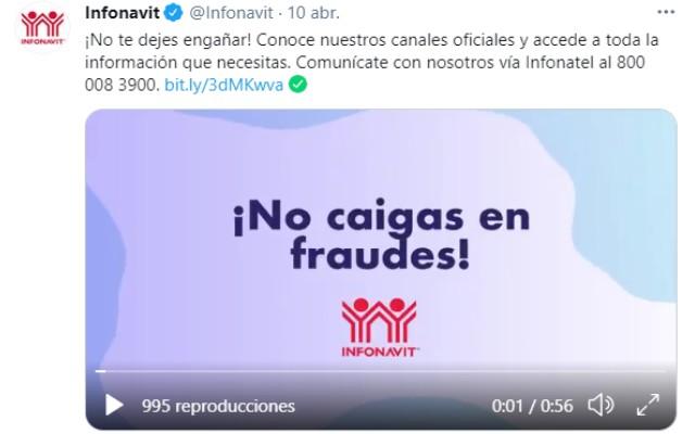 El Infonavit compartió un video en redes sociales para prevenir a sus derechohabientes