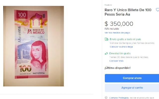 El billete de 100 pesos se vende muy caro en internet