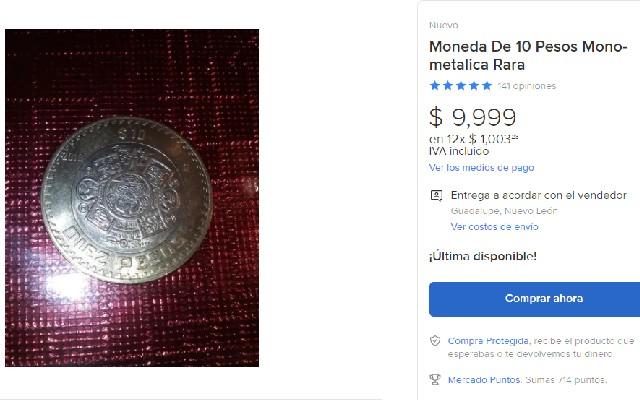 Esta es la oferta de la moneda de 10 pesos que aparece en el comercio electrónico