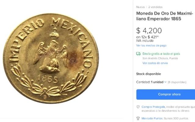 Este es el otro lado de la moneda de oro de Maximiliano Emperador