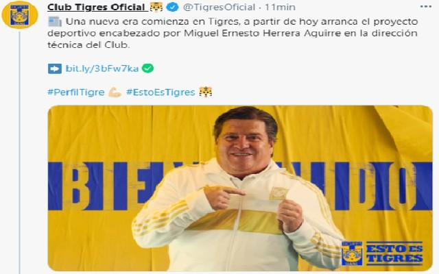 Miguel Herrera fue anunciado como nuevo DT de Tigres en redes sociales