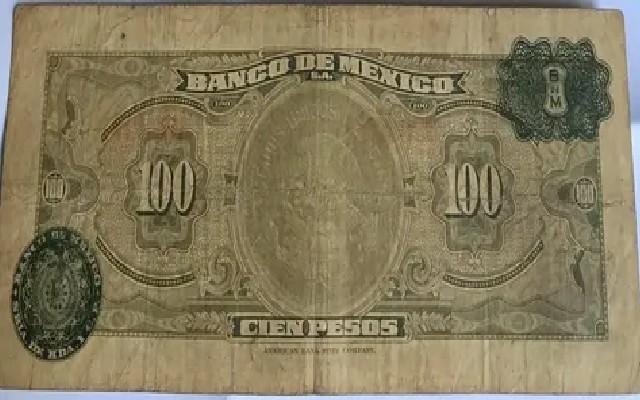 Así se ve el otro lado del billete de 100 pesos mexicanos