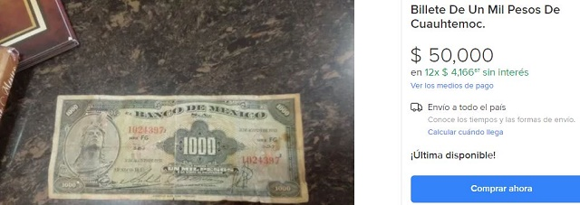 Esta pieza con la denominación de mil pesos y valor actual de un peso, pertenece a la familia AA y estuvo en circulación de 1936 a 1977