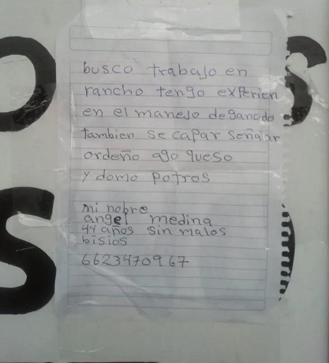 Currículum escrito a mano por Ángel Medina