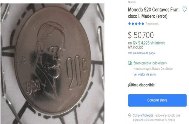 moneda de Francisco I. Madero cuánto vale