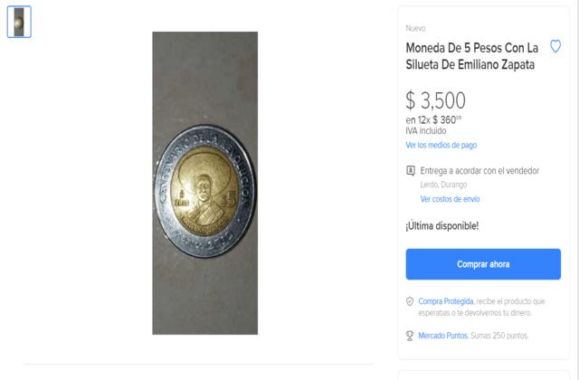 Moneda de Emiliano Zapata de 5 pesos cuánto vale