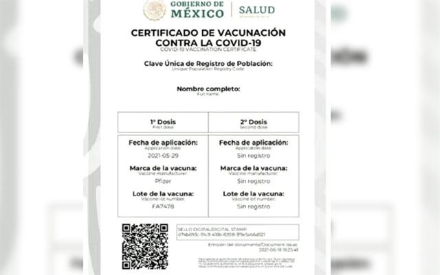 Datos del certificado de vacunación