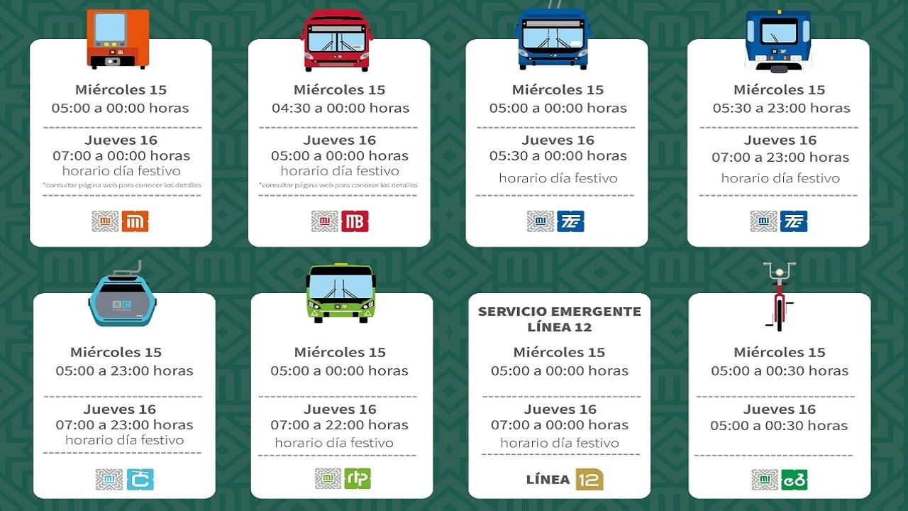 Horarios de la red de transporte público durante el 15 y 16 de septiembre