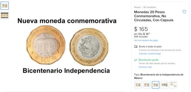 ¿Cuánto dinero puedo pedir por mi moneda conmemorativa de 20 pesos?