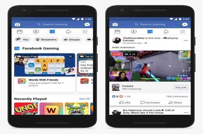 Facebook Dedicated Gaming Tab for Mobile App