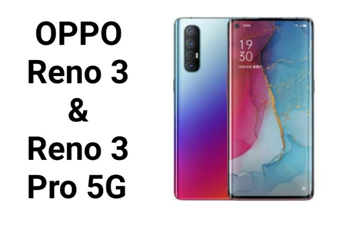 Oppo Reno 3 and Reno 3 Pro Specifications and price