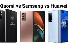Xiaomi Mi Mix Fold vs Samsung Galaxy Z Fold 2 vs Huawei Mate X2