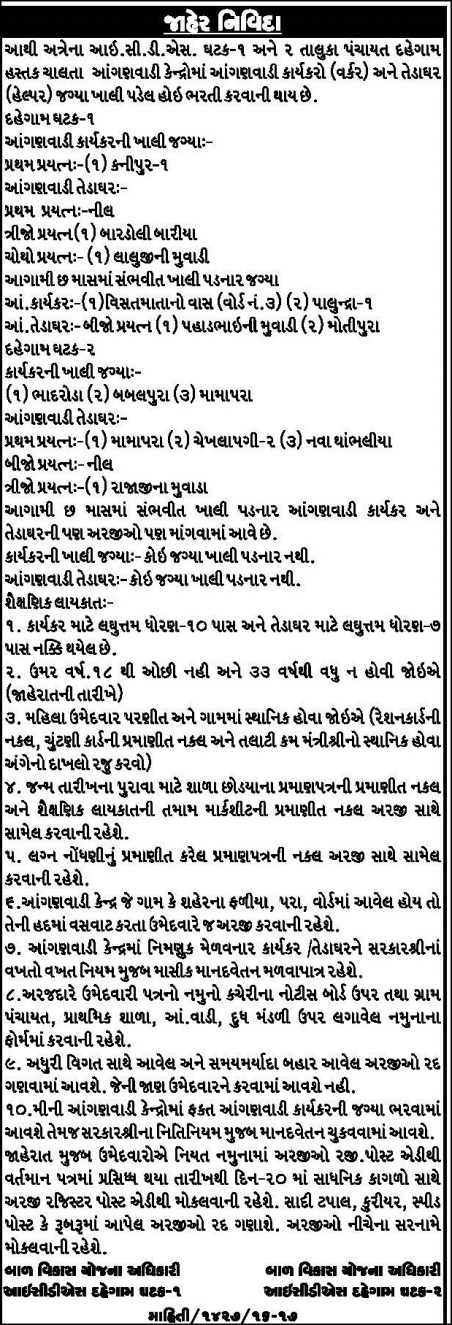 icds_dahegam recruitment