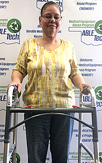 E Richter is scheduled for knee replacement surgery and really appreciates the walker that will help in her recovery.