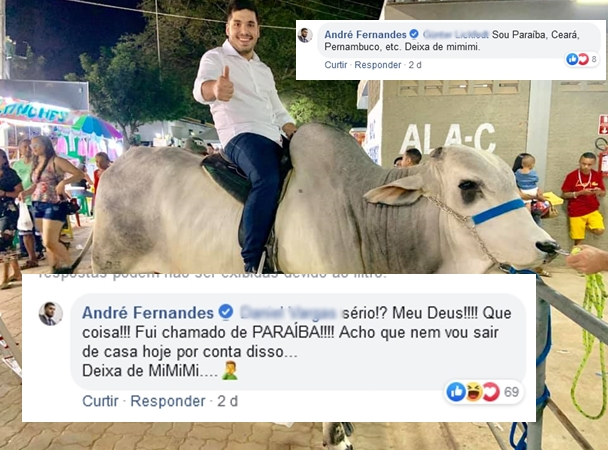 O Deputado André durante o final de semana, na Expocrato | Imagem Reprodução Facebook