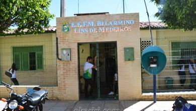 Fachada da E.E.F.M. Belarmino Lins de Medeiros, localizada em Abaiara-Ce | Foto: OKariri