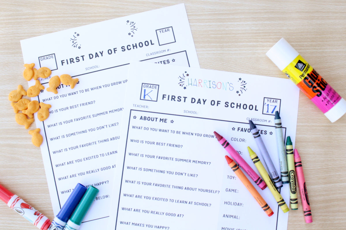 graphic relating to First Day of School Interview Printable identify Very first Working day Of Higher education Job interview - No cost Printable - Okayest Mothers