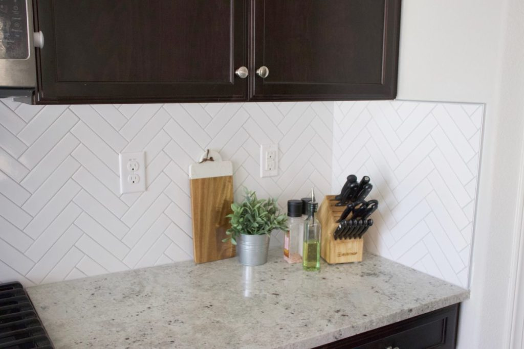 Herringbone Subway Tile Backsplash Reveal Okayest Moms