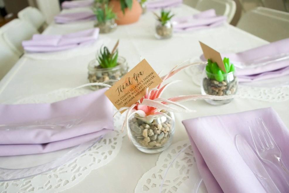 faux succulent bridal shower favor