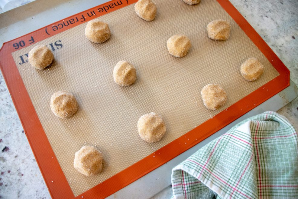 slightly flattened molasses cookie dough balls ready for the oven