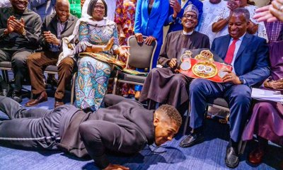 Anthony Joshua prostrates to met  President Muhammadu Buhari
