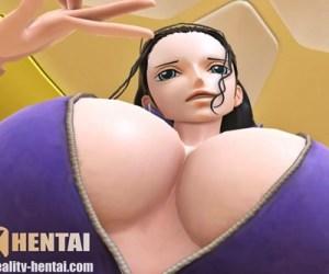 【ワンピース】ロビンが疑似騎乗位で巨乳揺らしてアヘ顔Wピース&痙攣アクメするVRエロ動画 (SFM-VR)