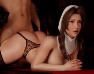 【FF7R】エアリスがハロウィンの夜にナースとシスターのエロコスプレでセックスする3Dアニメ