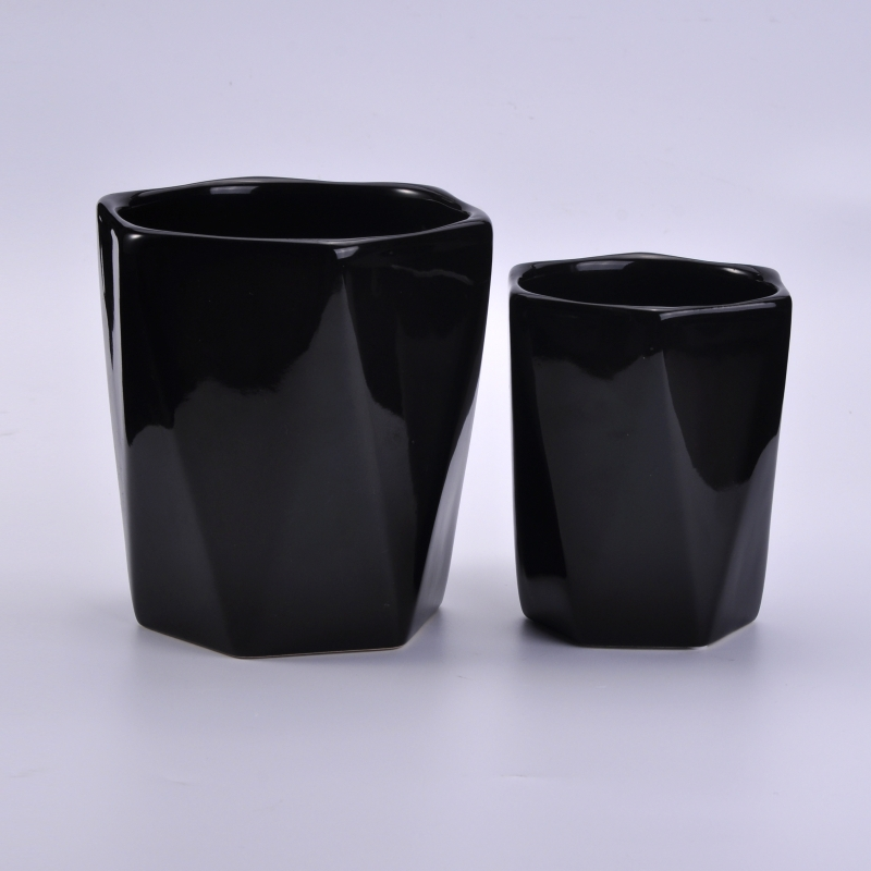 Black ceramic candles containerblack candles holder