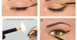Encendedor quemando la punta de un delineador y un ojo de muestra