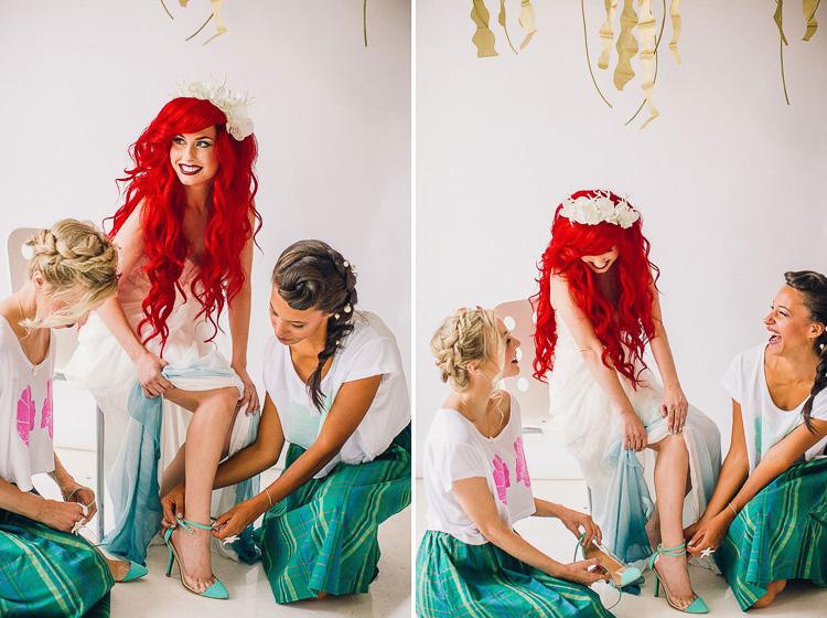 Hermosa boda al estilo de la pelcula de Disney La Sirenita
