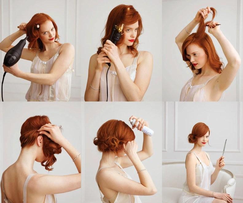 chica pelirroja secándose el cabello y rizandolo para después hacer un bonito chongo de lado