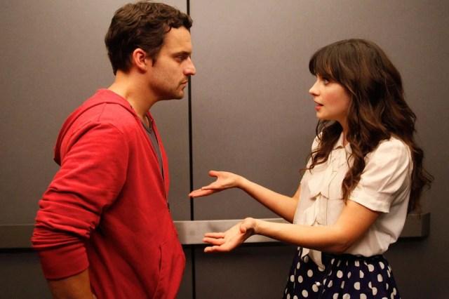escena de la serie new girl nick y jess peleando