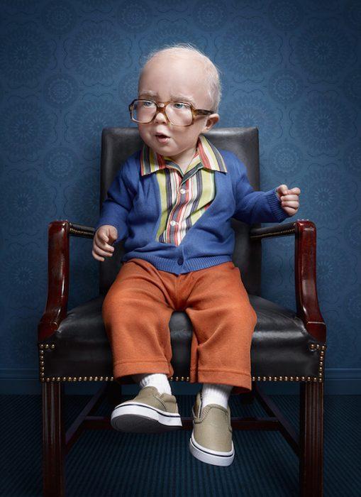 Divertidas fotos de bebs disfrazados como adultos mayores