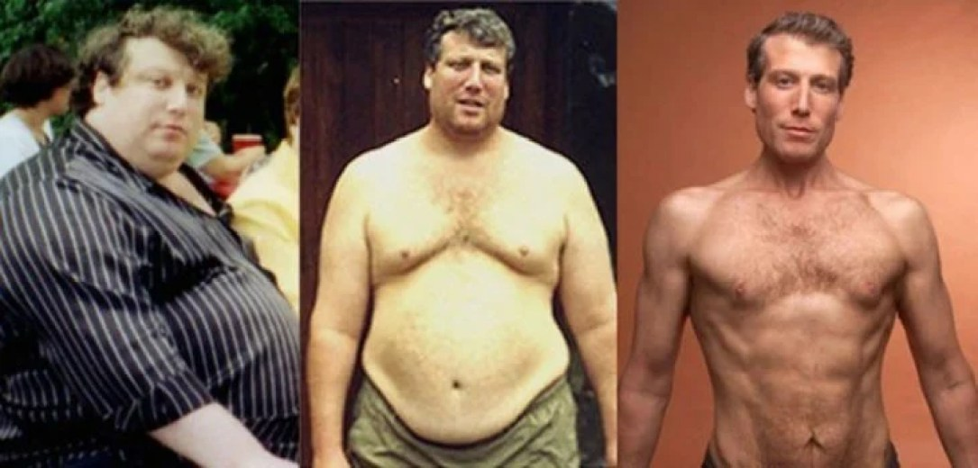 Hombre en distintas etapas de su perdida de peso