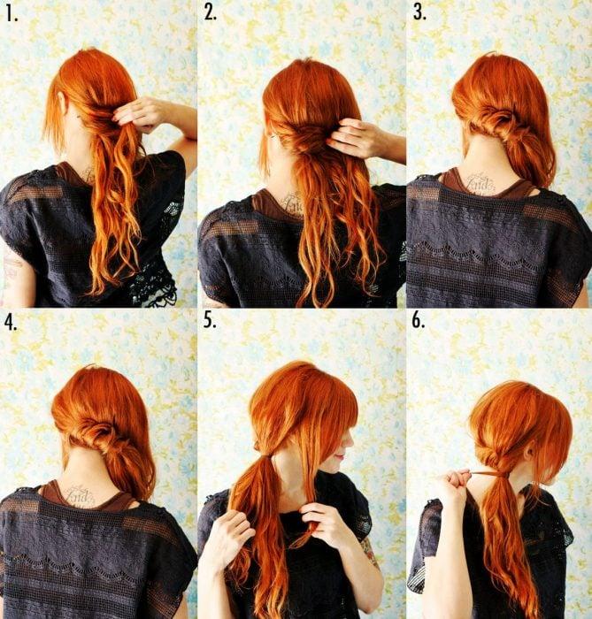 Garota com cabelo vermelho fazendo uma cauda do lado dela