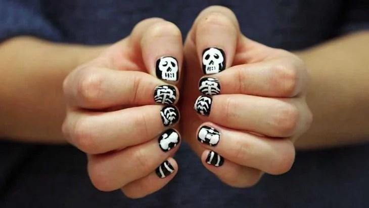 Diseño de uñas para halloween de esqueleto