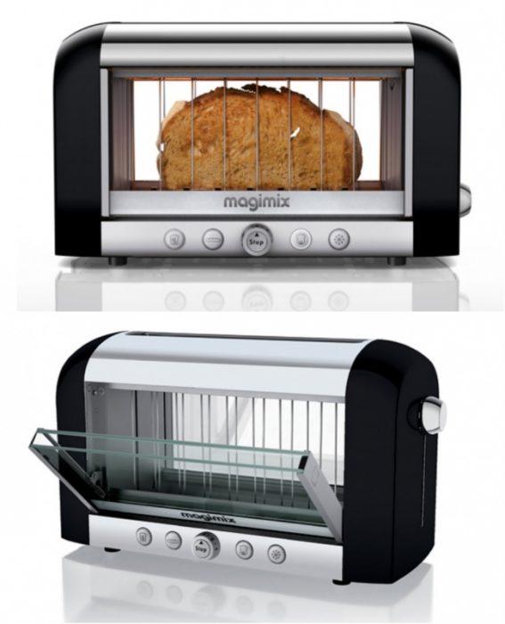 tostadora de pan con vidrios trasparentes