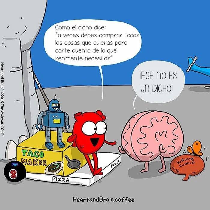 Este cmic muestra la batalla entre el cerebro y el corazn