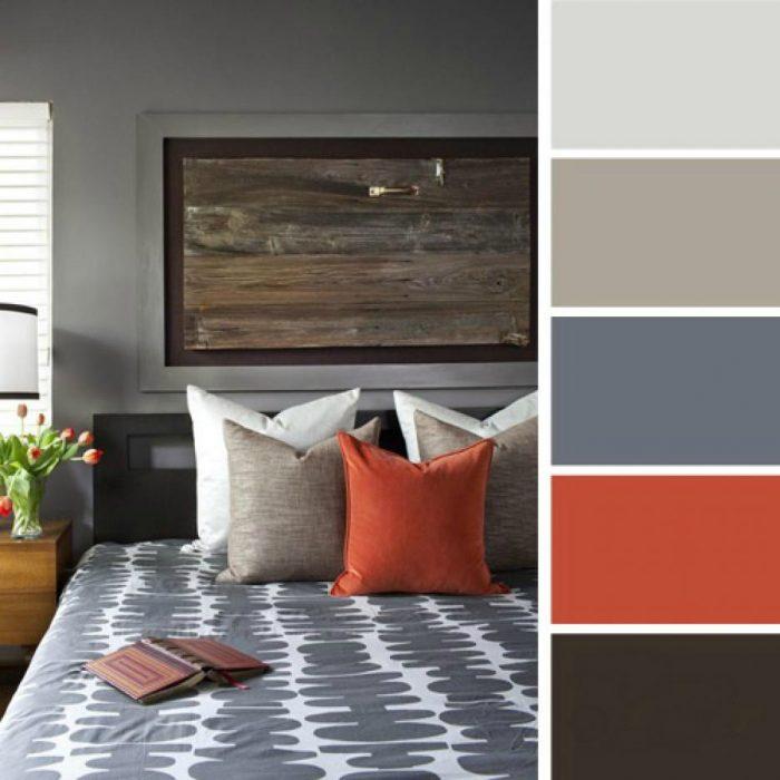 paleta de colores para dormitorio grises naranja