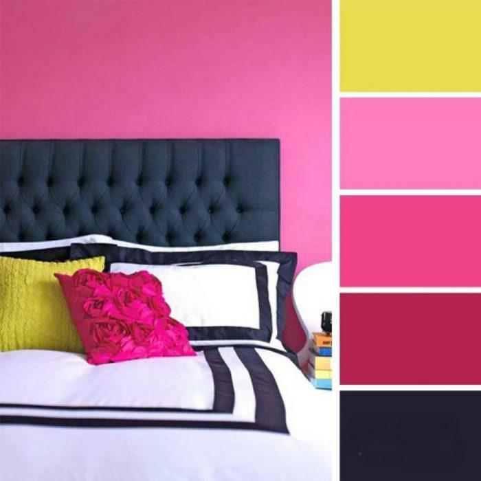 paleta de colores rosas negro verde limon