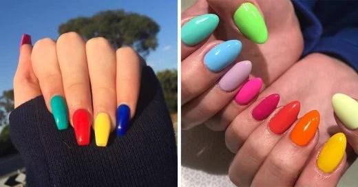 Uñas De Colores Diferentes Acrilicas Decorados De Uñas