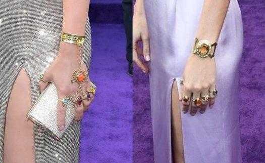 Scarlett Johansson que interpreta a la Viuda Negra y Brie Larson en el papel de Capitana Marvel en la premiere de la película de Avengers: Endgame en Los Angeles, vistiendo las gemas del infinito