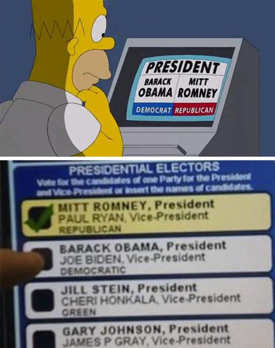 Los Simpson y las máquinas defectuosas de votación