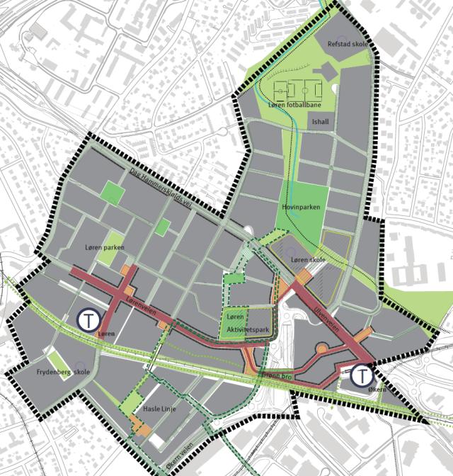 Fra Veiledende plan for det offentlige rom Løren og Økern