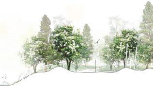 Fabel arkitekters forslag til lekepark på Valle Hovin Ill. Fabel arkitekter, STED, Everyday studio, Light bureau, Permafrost