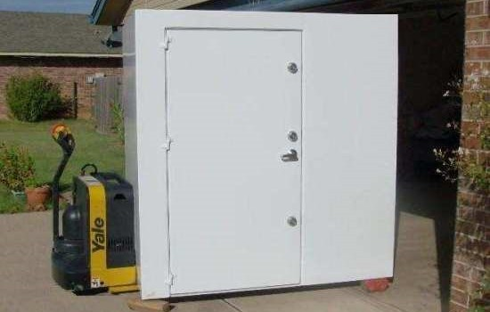 An outdoor safe room for storms in Oklahoma.