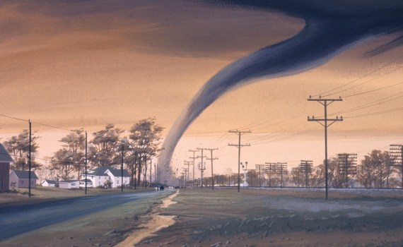 Trees and power lines during a tornado